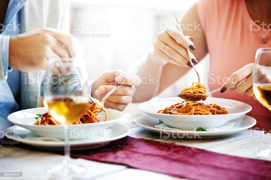 Eating Spaghetti stock photo