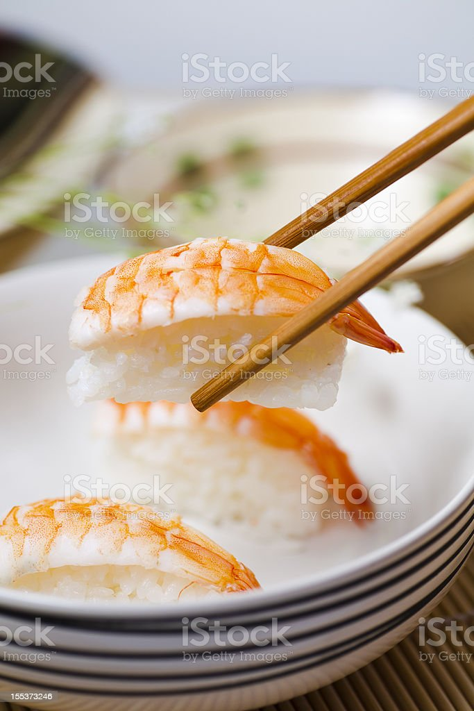 Eating sushi royalty-free stock photo