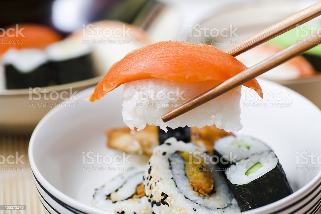 Eating sushi royalty-free stock photo