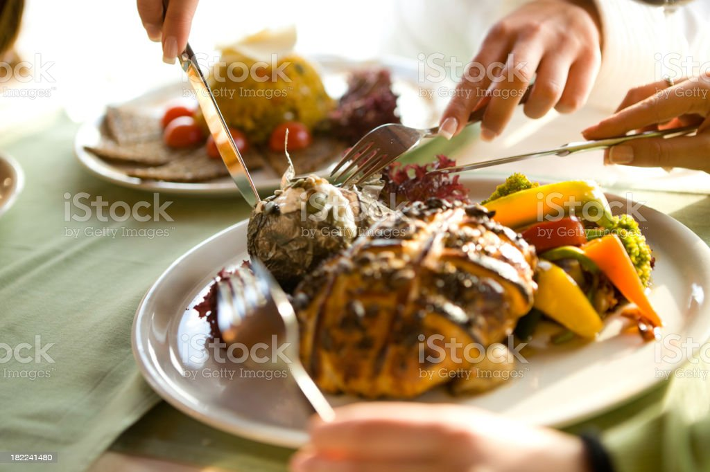 Eating together stock photo