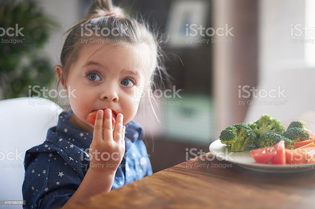Manger des légumes par enfant de les rendre plus sain - Photo
