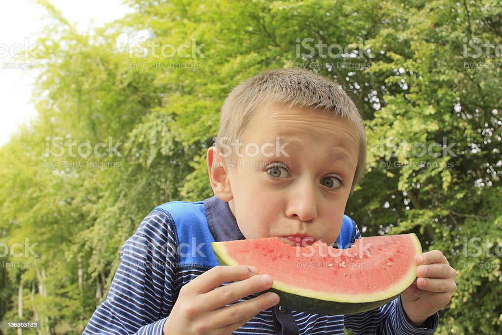 Eating Watermelon stock photo