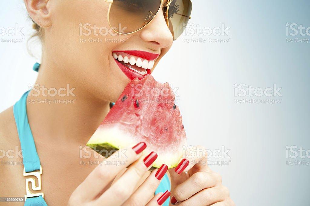 Eating watermelon. stock photo