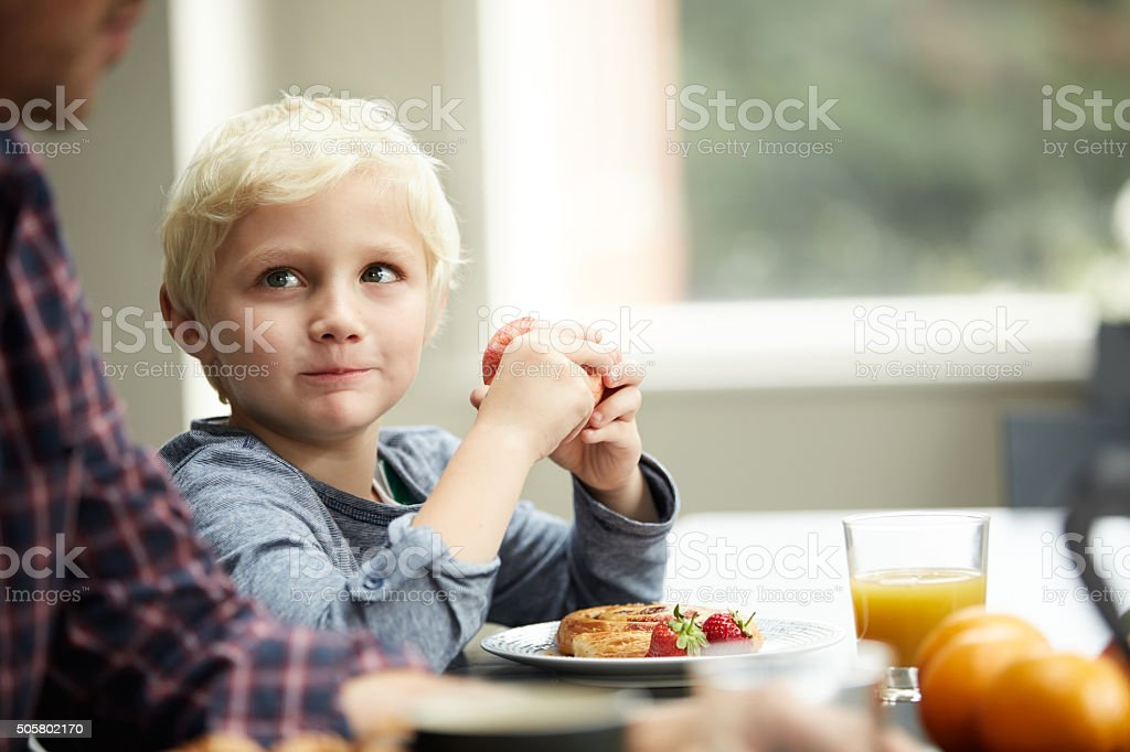 Eating well will help you grow big and strong! stock photo