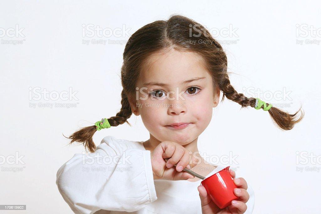 eating yogurt stock photo