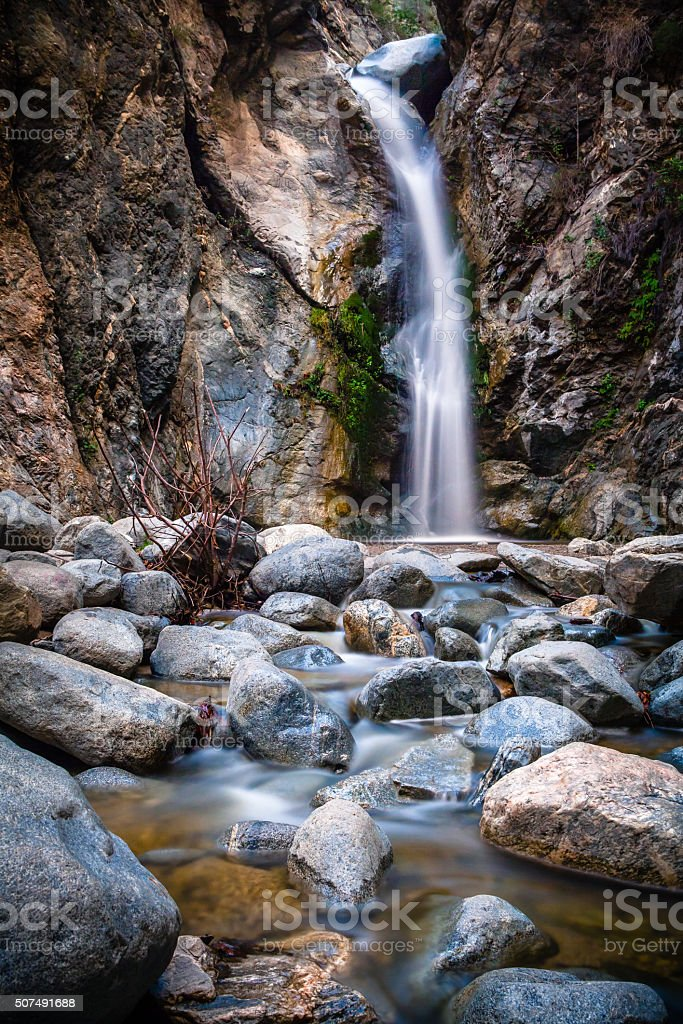 Eaton Canyon Falls Waterfall, San Gaberial Mountains, Angeles National Forest stock photo