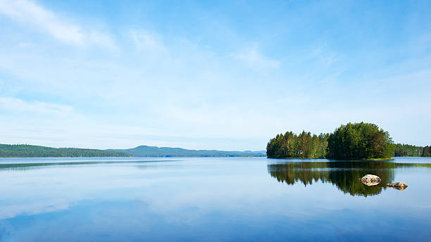 eautiful finnish landscape - lakeshore stock photos and pictures