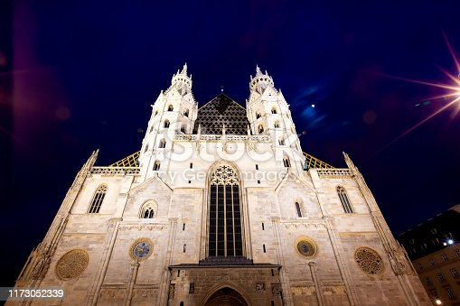 eautiful of St. Stephen's Cathedral in the night or the mother church of the Roman Catholic Archdiocese of Vienna and the seat of the Archbishop of Vienna Austria