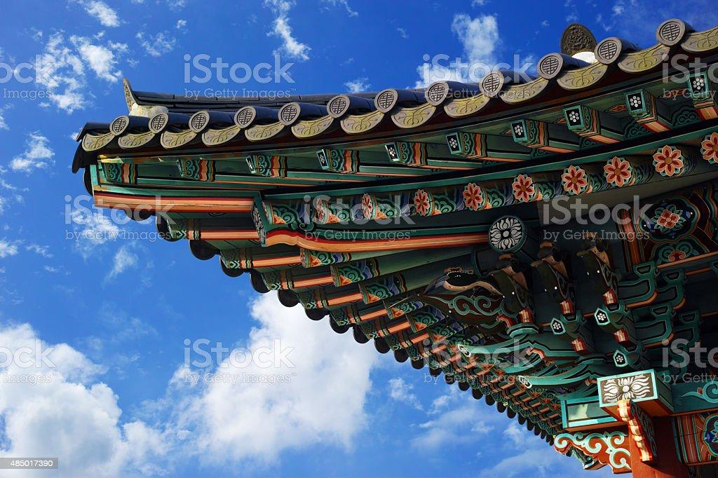 Eaves of pavilion, Blue sky and harmony stock photo