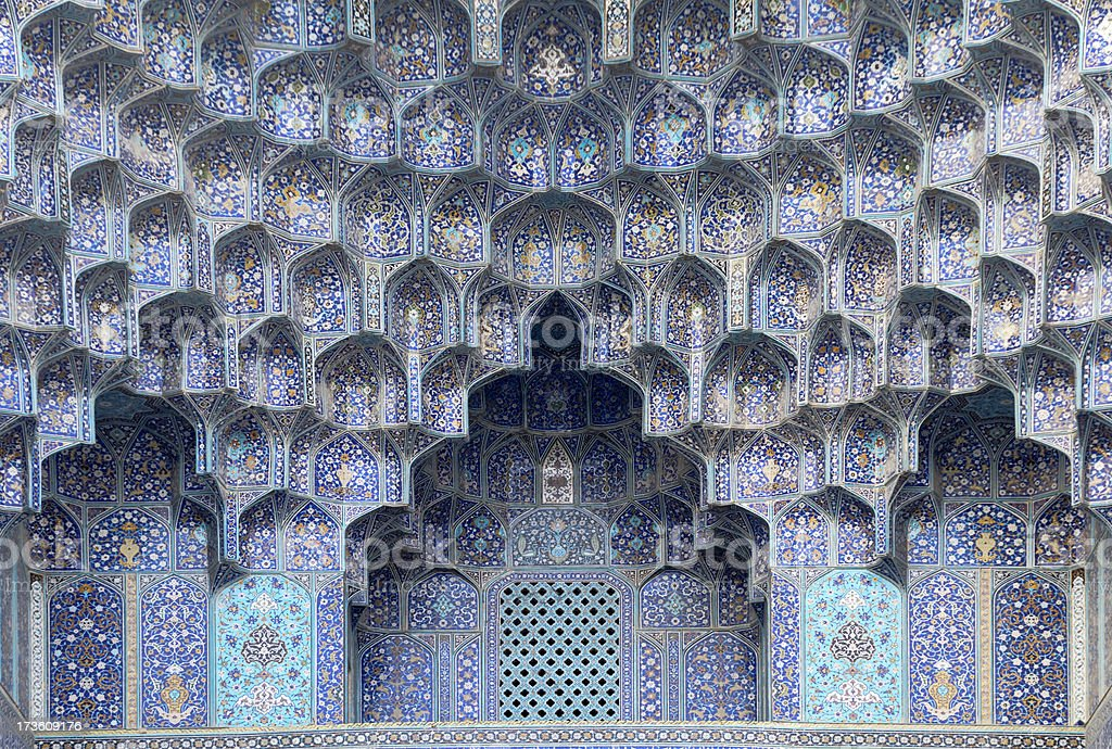 Eaves of Portal in Shah Mosque, Isfahan, Iran stock photo