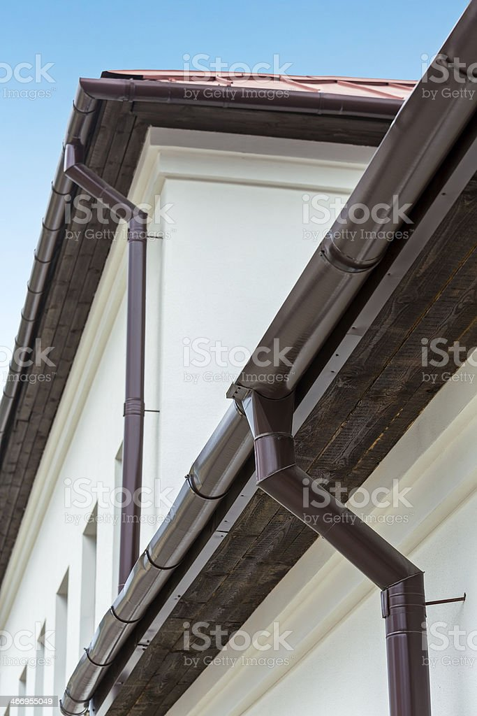 Eavestrough With Downspout Stock Photo & More Pictures of