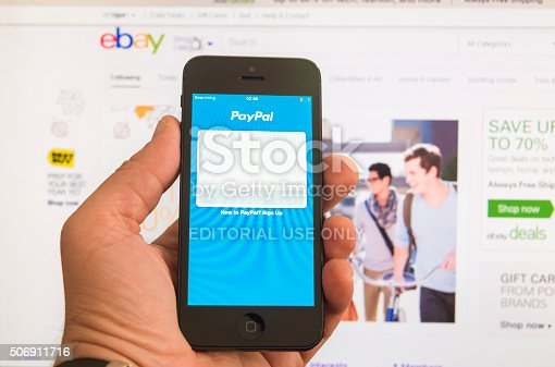 New York, U.S.A. - August 13, 2015:PayPal start page on the screen of a iphone 5 smart phone and Ebay home page in browser window in the background. PayPal is an e-commerce business allowing payments and money transfers to be made through the Internet. Online money transfers serve as electronic alternatives to traditional paper methods such as checks and money orders. eBay is the most visited an online auction and shopping website, owned by eBay Inc.