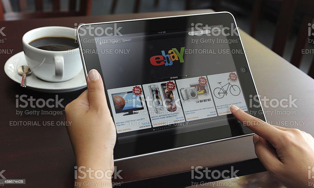 eBay on iPad royalty-free stock photo
