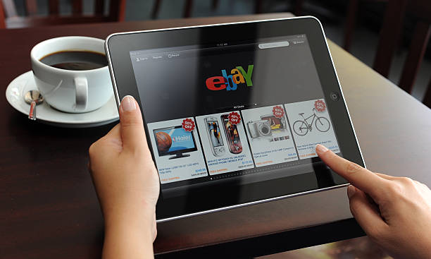 ebay on ipad - www kaffee oder tee stock-fotos und bilder