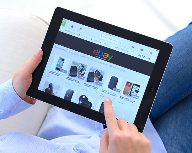 Ebay on iPad stock photo