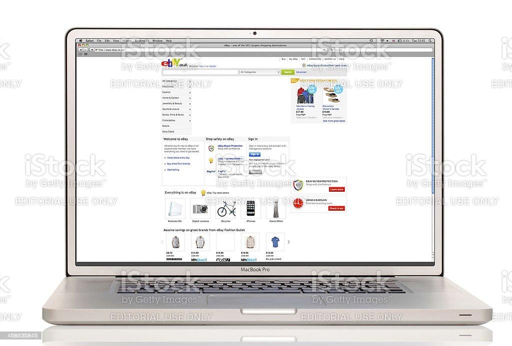 Ebay website on a laptop royalty-free stock photo