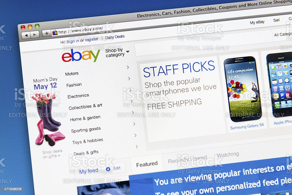Ebay.com homepage of retail store stock photo