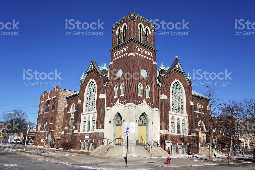 Ebenezer Evangelical Lutheran Church in North Lawndale, Chicago royalty-free stock photo