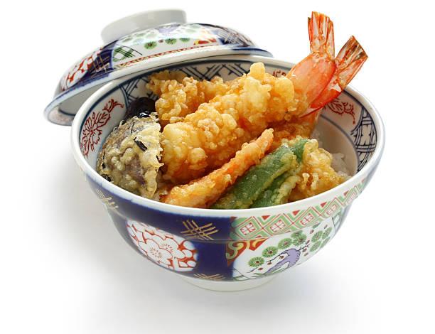 ebi tendon, prawn tempura bowl, japanese food - 丼物 ストックフォトと画像