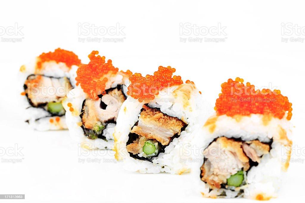 Ebi UraMaki Sushi with Asparagus stock photo