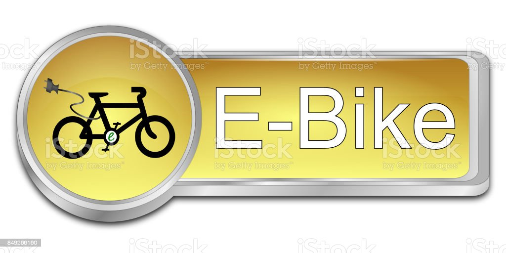 E-Bike Button - 3D illustration stock photo