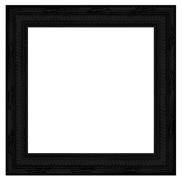 Ebony Square Picture Frame.  Isolated on White with Clipping Path stock photo
