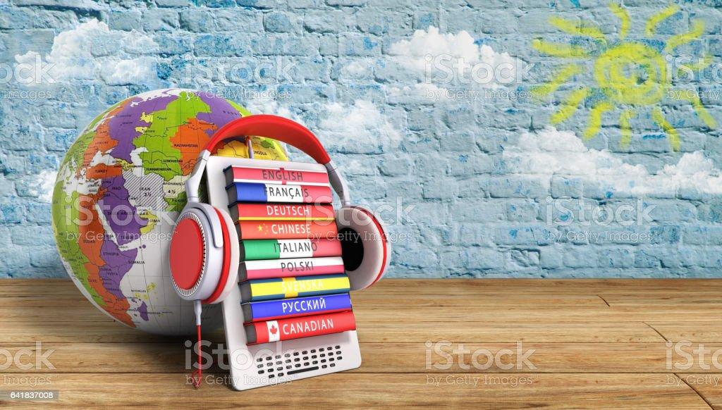 e-boock whith globe audio learning languages 3d illustration image stock photo