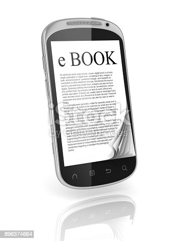 1058104820istockphoto E-book 3d concept - book instead of display on the phone 896374664