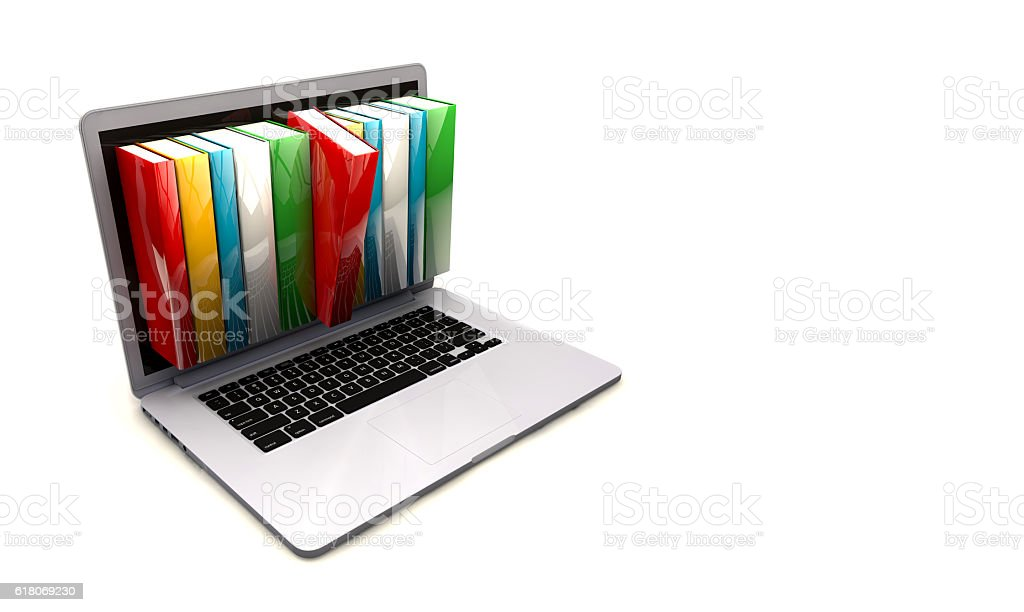 E-book library concept with laptop computer and books – Foto
