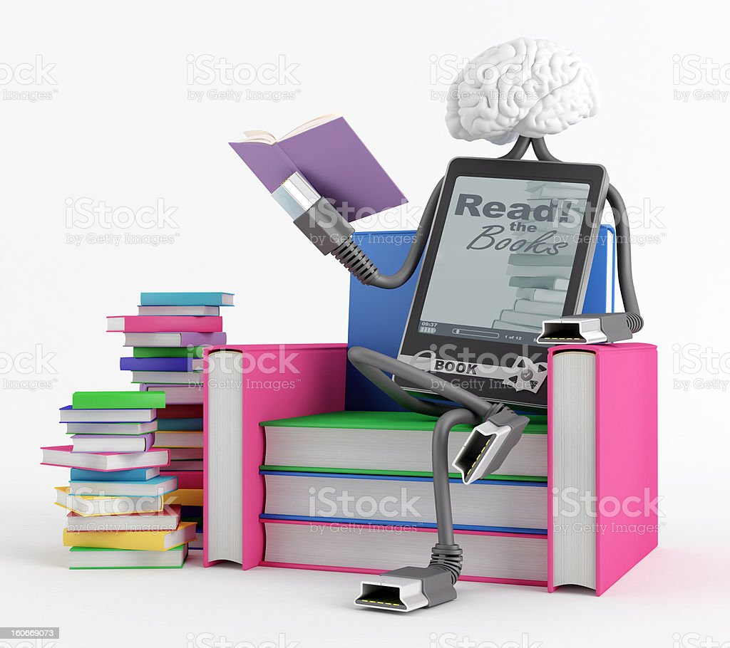 E-Book man in the chair stock photo