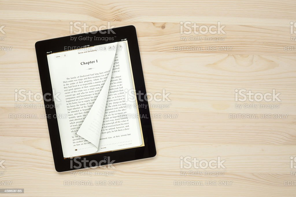 E-book on Apple iPad royalty-free stock photo
