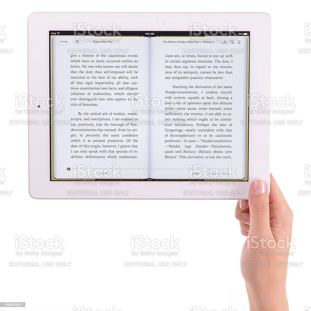 E-book on iPad 3 stock photo