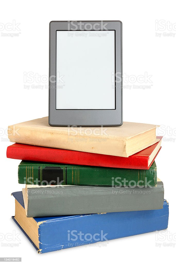 Ebook on pile of old books royalty-free stock photo