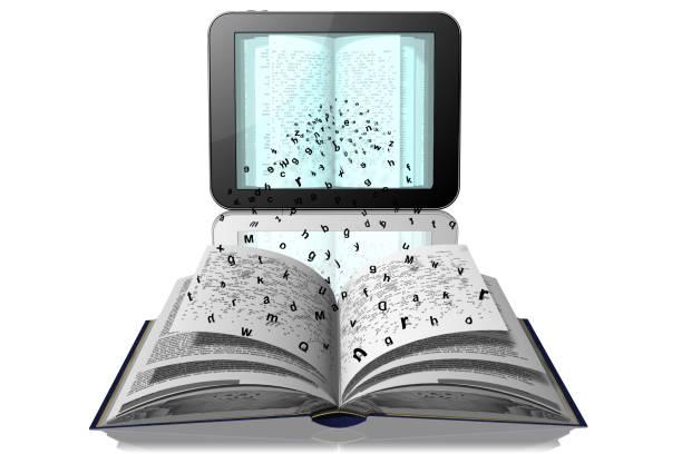 E-book  pagine libro download Lettere si staccano da pagine libro per andare in tablet, e-book libro stock pictures, royalty-free photos & images