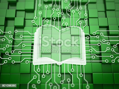 E-book concept on abstract green background