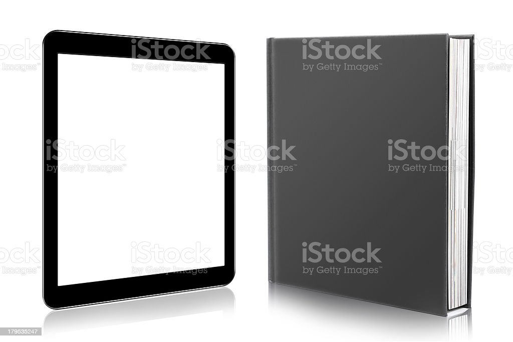 e-book reader. book and digital tablet royalty-free stock photo