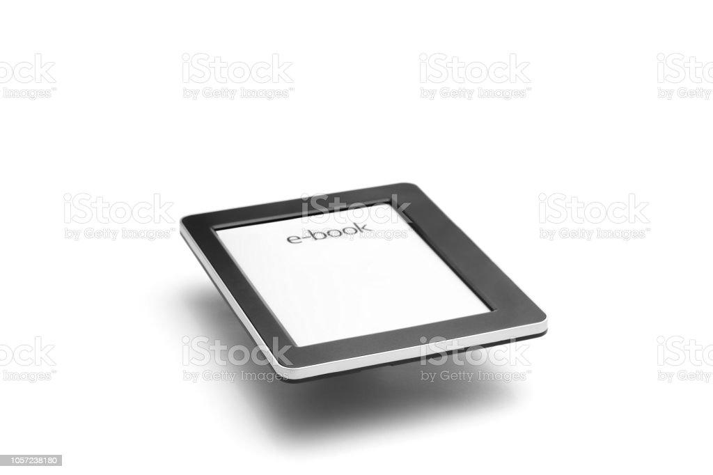 E-book reader on white bacground stock photo