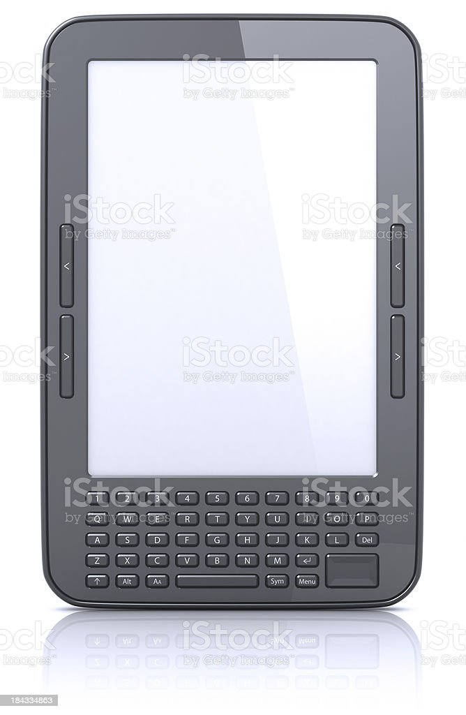E-book reader white screen royalty-free stock photo