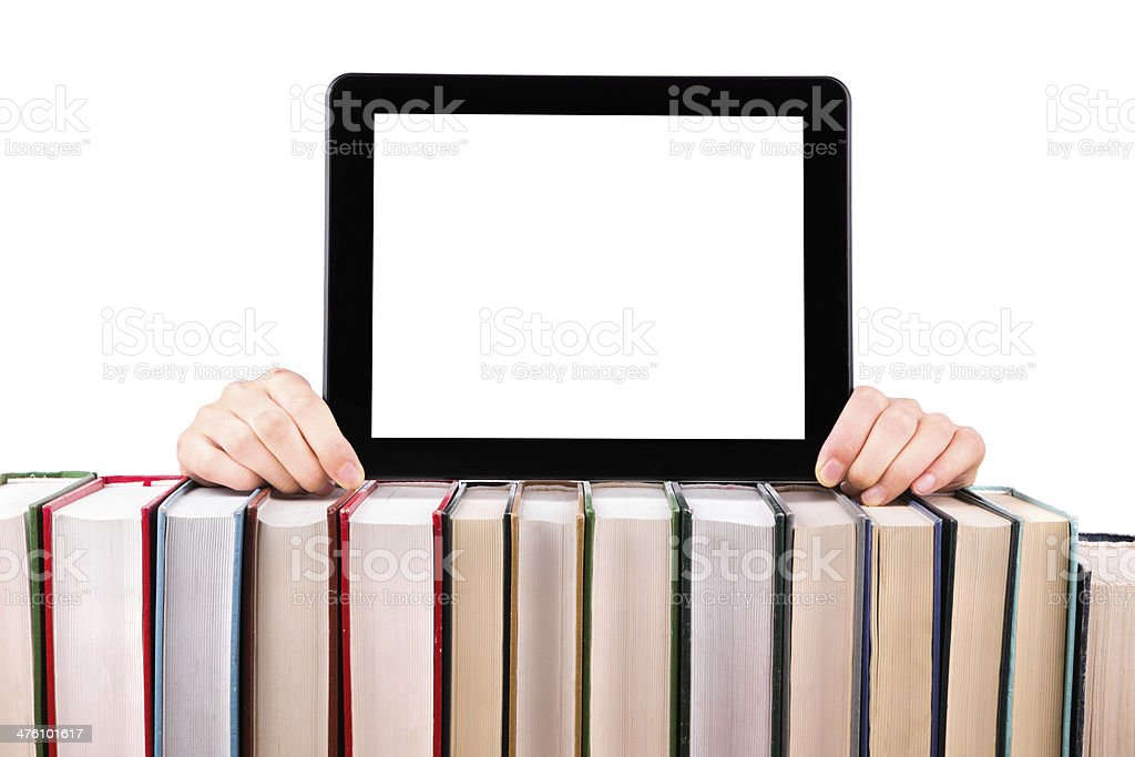 E-book Reader: reserve pilha E tablet computador isolado - foto de acervo