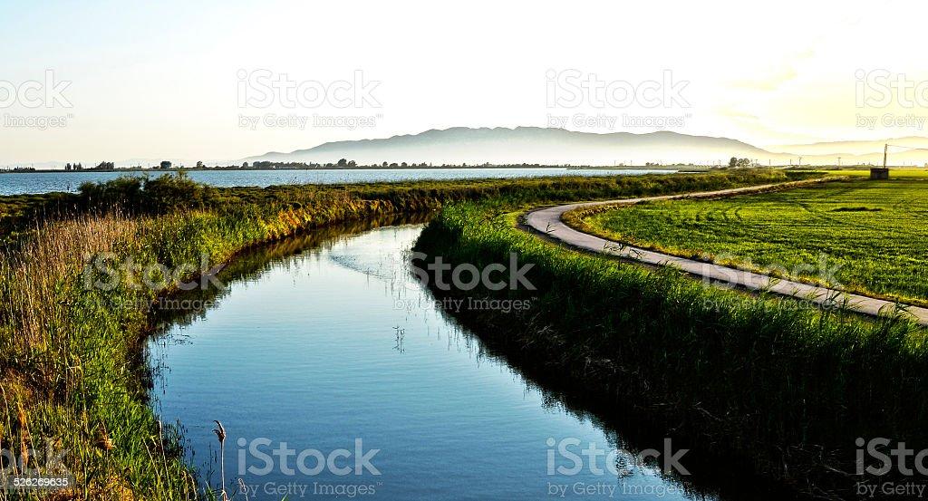 Ebro river from La Tancada stock photo