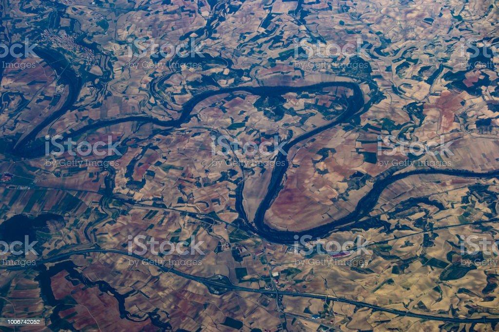 Ebro river from the aeroplane stock photo