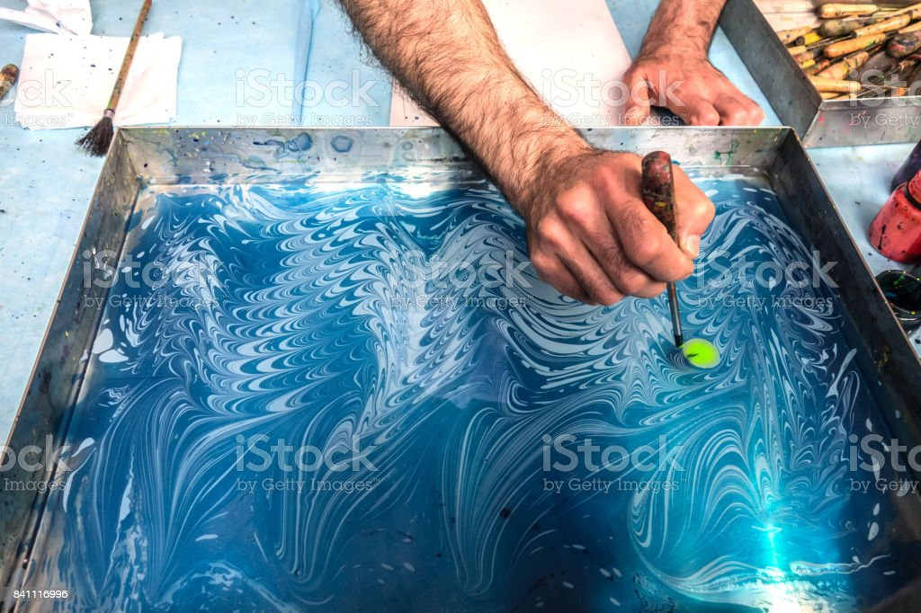 Ebru - The art of painting on the water stock photo