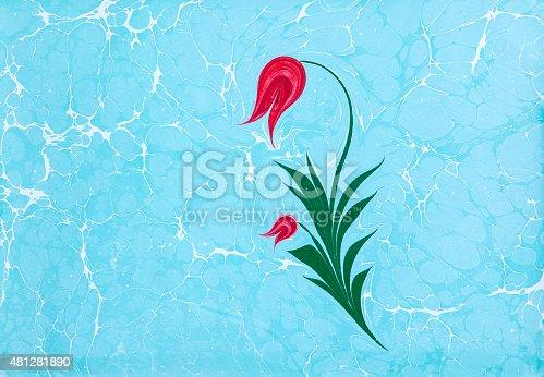 istock Ebru, Turkish marbling art background 481281890