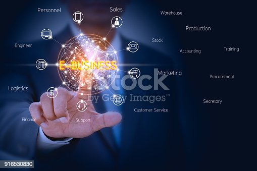 istock E-Business concept of businessman touching on virtual screen to control e-business management solution 916530830