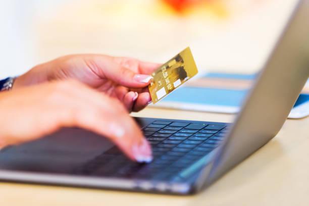 e-business, online shopping and internet payments concept - online shopping imagens e fotografias de stock