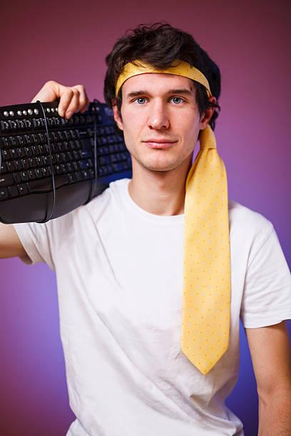 exzentrisch computer specialist - ninja krieger stock-fotos und bilder