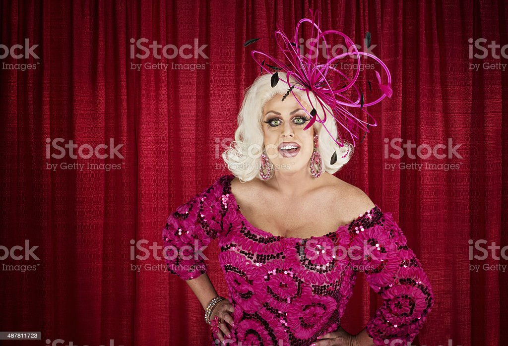 Eccentric Drag Queen with Hands on Hip stock photo