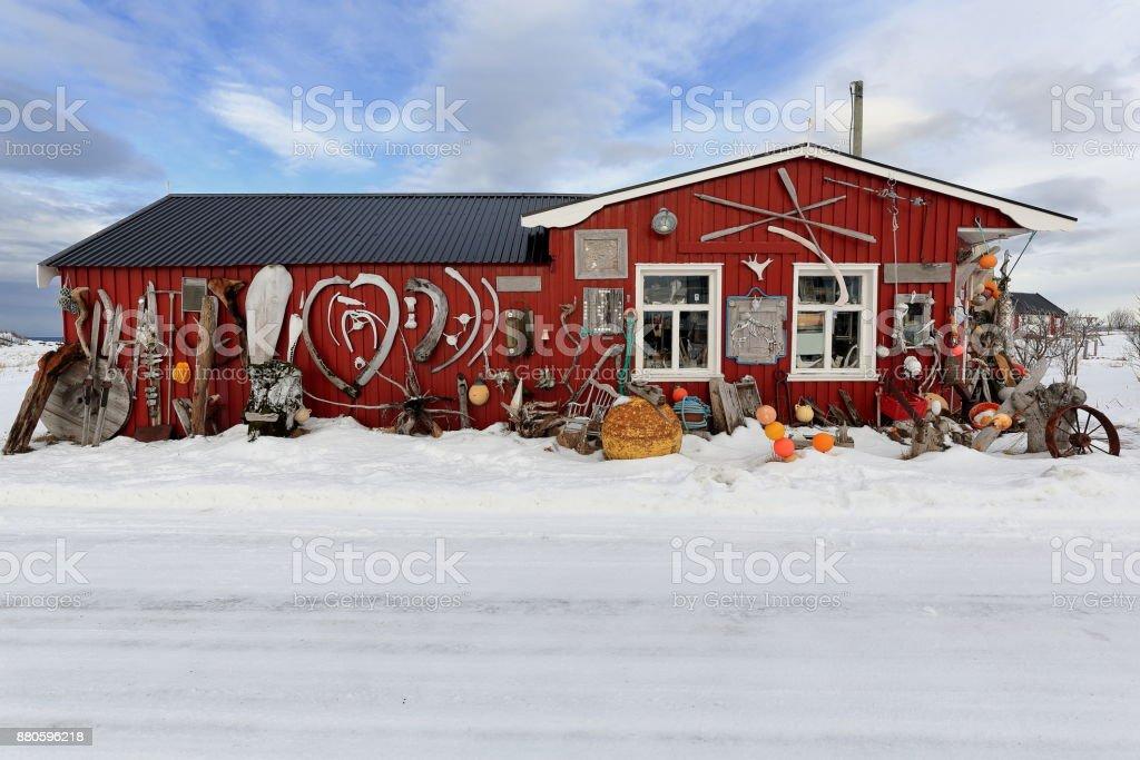 Eccentric ornate on rorbu-traditional fishing hut exterior. Straumnes-Vagan-Austvagoya-Lofoten-Norway. 0615 stock photo