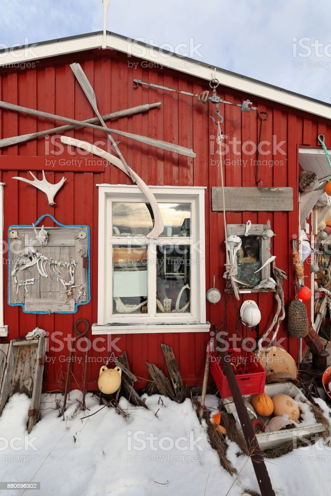 Eccentric ornate on rorbu-traditional fishing hut exterior. Straumnes-Vagan-Austvagoya-Lofoten-Norway. 0618 stock photo