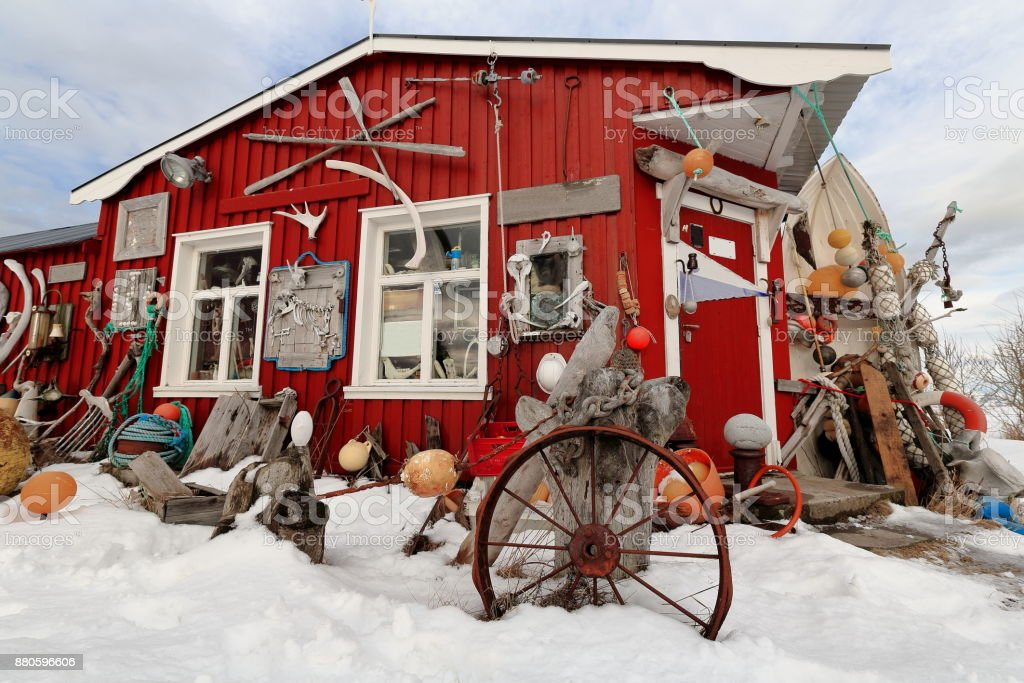 Eccentric ornate on rorbu-traditional fishing hut exterior. Straumnes-Vagan-Austvagoya-Lofoten-Norway. 0619 stock photo